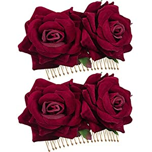 2 Pack Rose Flower Hair Clip Women Rose Flower Hair Accessories Wedding Hair Clip Flamenco Dancer (Dark Red)