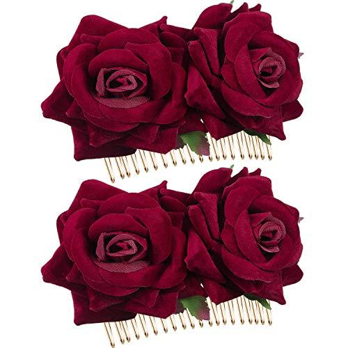2 Packung Rose Blume Haarspange Damen Rose Blume Haarschmuck Hochzeit Haarspange Flamenco Tänzerin (Dunkel Rot)