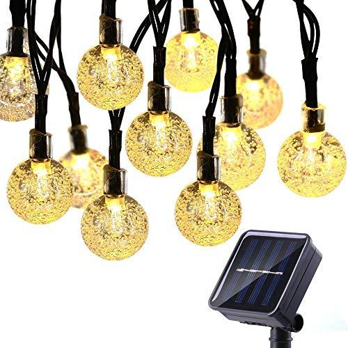 Solar Lichterkette Aussen Garten 30er Warmweiß LED Kristall Kugel Lichterketten für Außen, 8 Modi IP65 Wasserdicht Außerlichterkette für Garten/Bäume/Terrasse/Weihnachten/Hochzeiten/Partys Deko