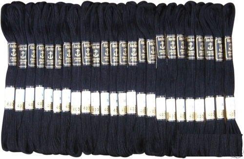 Anchor Lot de 24 écheveaux de Fil à Broder en Forme d'ancre Noire de Haute qualité
