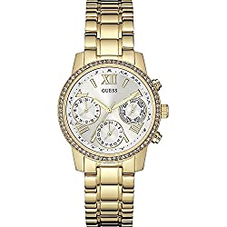 Guess Women's Quartz Watch with Silver Dial Analogue Display and Gold Stainless Steel Bracelet W0623L3