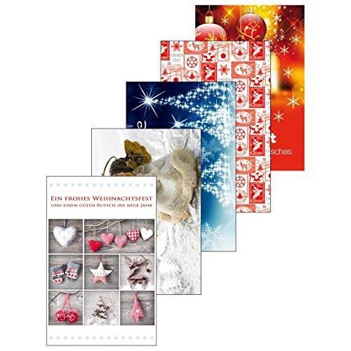 Susy Card 40008813 Weihnachts-Grußkarten, 10er Packung, 5 Motive Sortiert