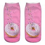 MAYOGO Socken Damen&Herren 20-22cm Herbst Winter Knöchelsocke Essen Donut 3D Digitaldruck Baumwoll socks Unisex