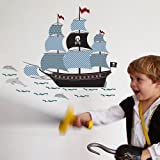 Art For Kids Wandsticker aus Vinyl, Piratenschiff, Blau