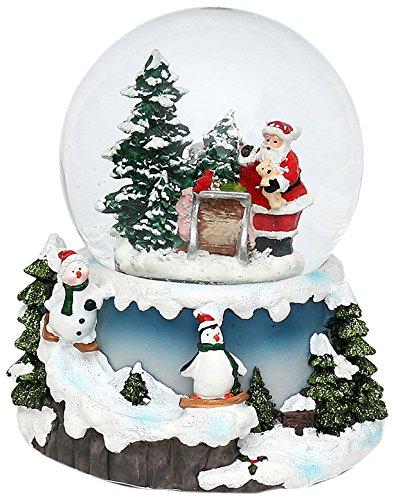 Sigro base slitta di babbo natale con palla di neve con pupazzo di neve e pinguino, 15x 12.5x 13cm