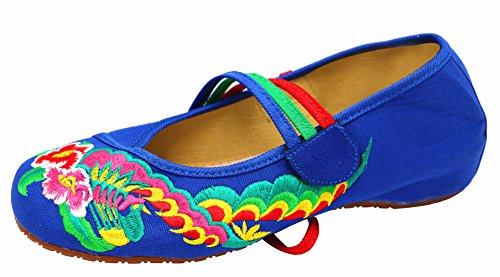 Tornozelos Baixos Azul Gelo Cinza Macios Sapatos Bordado De Fez Senhoras Frequência fqZxRCTgw