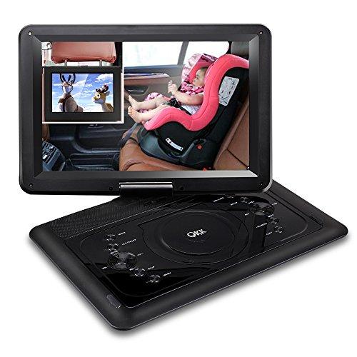 """QKK 14.1\"""" tragbarer DVD Player, Auto DVD Player, 6 Stunden Akku, 270°drehbares HD Display, unterstützt USB und SD Karte, USB Datenreplikation Funktion,Schwarz"""