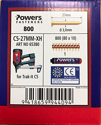 Powers ongles C5-27 mm XH de gaz Cloueuse, Würth Diga CS - 2,...
