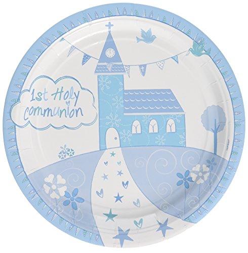 amscan 9901887Kommunion Kirche blau Pappteller 23cm