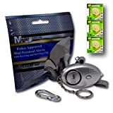 Mini Minder Key Ring Persönliche Schlüsselalarm Angriff Rape Alarm 140dB mit Fackel (Silber) + Ersatz Batterie-Set