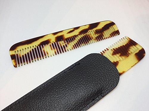 niavida Celluloid Taschenkamm 12,5 cm handgefertigt gesägt comb Kamm mit Etui Leder