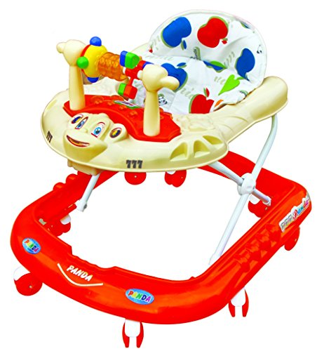 Goyal's Monkey Baby Walker - Music & Light Function With Adjustable Height (Red)