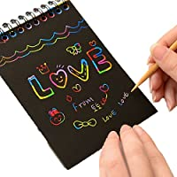 Sanjose81 Journal Note Scratch Paper Notebook + Wooden Stylus Drawing Stationery for Kids