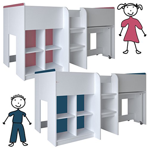Kinderbett HOCHBETT weiß rosa/blau Schreibtisch Regal Treppe KOMBIBETT 90x200cm