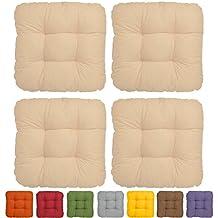 Beautissu® Set da 4 cuscini Lisa 40x40x8cm per sedie e panche giardino - beige - soffice imbottitura senza lacci
