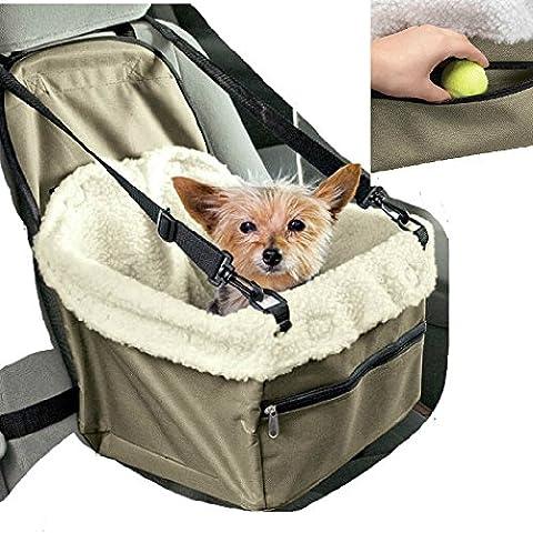 Transportín de coche para asiento, cesta para sillita de perro, gato, mascotas con correas de seguridad y suave acolchado