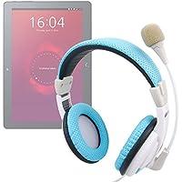 DURAGADGET Auriculares de Diadema en Azul y Blanco con micrófono direccionable para Tablet BQ Aquaris M10