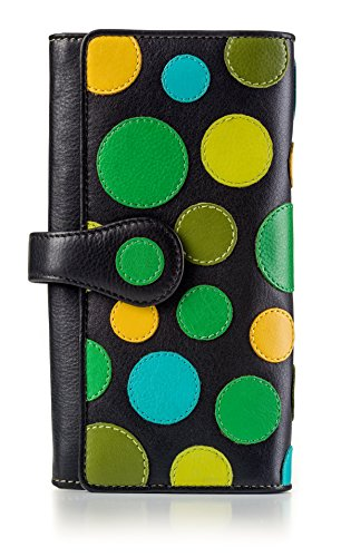 Visconti Leder Damen Geldbörse Polka Multicolor Purse (P2): (lily pad (Blaugrüntöne).)