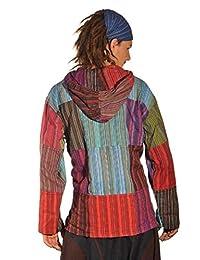 Patchwork Kapuze Hemd Pullover Shirt Fischerhemd Freizeithemd Freizeitshirt Hippie Goa Psy Kurta