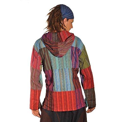 Patchwork Kapuze Hemd Pullover Shirt Fischerhemd Freizeithemd Freizeitshirt Hippie Goa Psy Kurta (XL)