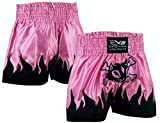 EVO Fitness Femmes Shorts De Muay Thai Filles MMA Kick Boxing Arts Martiaux Femme Combat Rouage - Rose, Large