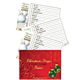 Christmas Songs First Letters Game - Christmas Games for families & adult christmas party games - 10 x Postcard size Playing Cards + answers - first lines quiz - adult Christmas stocking fillers