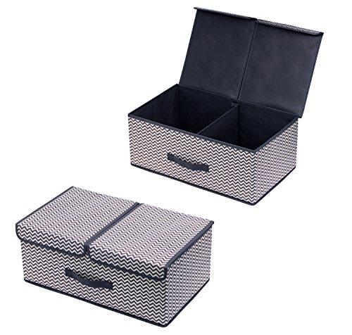 Homyfort 2 Stück Aufbewahrungsbox mit Deckel, Klappbar Aufbewahrungsbox/Kleidung Veranstalter, entfernbares Teiler-Brett, Leinen Vliesstoff, Magnet schließt, 50 x 30 x 20cm, Grau / Weiß Zickzack, XBB2L2
