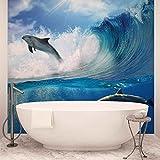 Delfine See Welle Natur - Forwall - Fototapete - Tapete - Fotomural - Mural Wandbild - (188WM) - XXXL - 416cm x 254cm - VLIES (EasyInstall) - 4 Pieces