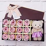 Star Supermarket Rose Blume der Seife 12pcs mit Geschenkbox und Bär, handgemachte künstliche Blume...