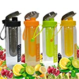 #9: Steelo Set Of 4 Fruit Infuser Water Bottle Infusion Bpa Free Transparent Plastic Outdoor Detox Drink Juice Bottle-750 Ml With Bottle Cleaning Brush