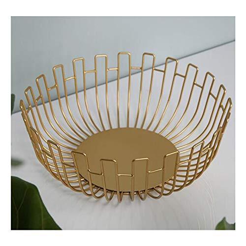 HU Nordic Weiche Dekoration Schmiedeeisen Mode Obstkorb Kreativer Minimalist Vom einfachen Wohnzimmer (Color : Gold, Size : M)