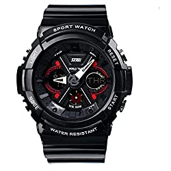 SKMEI Analog-Digital White Dial Men's Watch-AD0966 (BLK)