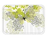 VICKKY Doormat House Decor Collection ButterflieSpring Park Stylized Art Decorative Romantic Love Anniversary Design Polyester Fabric Bathroom Set with HookGreen Black Cream 23.6 W X 15.7 W Inches