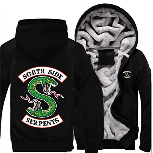 Erwachsene Winter Hoodie Jacke Herren South Side Serpent Plus Dicke Samt Reißverschluss Sweatshirt Mantel Cosplay Kostüm Kleidung (Schwarz-Ärmel, - Jughead Kostüm