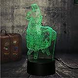 Lampada da tavolo da gioco in legno a forma di petto di cavallo 7 colori 3D luce diurna a LED, bambino, regalo di Natale, decorazioni per la casa, lava