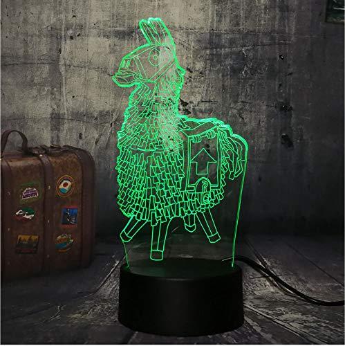 Holz pferd brust spiel schreibtischlampe 7 farbe 3d led nachtlicht junge kind weihnachtsgeschenk wohnkultur lava -