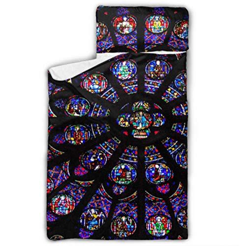 WYYWCY Glasfenster Rosette Kirchenfenster Notre Dame Ed Kinder Mädchen Schlafsack Nickerchen Matte Kinder Mit Decke Und Kissen Rollup Design Ideal Für Vorschulkindergarten Sleepovers 50