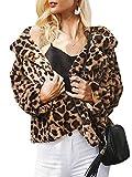 MsLure Damen Herbst Jacke Leopard Kurz Faux Kunstpelz Knopf Oberbekleidung Mantel Winter Leopard