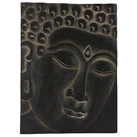 Wand Deko Buddah Gesicht Face Asien Relax Holz Bad Flur Büro Dekoration Bild elegant