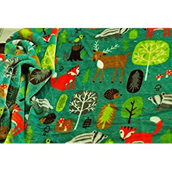 Double Sided Supersoft Cuddlesoft Fleece Fabric Material WOODLAND ANIMALS BROWN