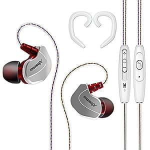Riwbox X7in-ear cuffie con isolamento acustico Sweatproof Resistant sport auricolari con microfono, controllo del volume e universale Secure Earhooks