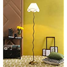 Off White Cotton Antique Gold Zig Zag Floor Lamp /Standing Lamp By New Era For Living Room /Drawing Room/Office/Bedroom/Decoration /Corner/Gift/Lobby