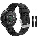 MoKo Garmin Forerunner 235 Smartwatch bracelet, Watch Band flexible en silicone avec des outils pour Forerunner 235/220/230/620/630/735 Montre de Running GPS avec Cardio au Poignet, Noir et Noir