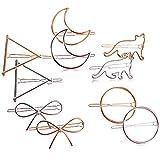 10pcs Clips Pinzas Pelo Mujer Horquillas Plateado Dorado Retro Forma Luna Triángulo Círculo Arcos Gatos
