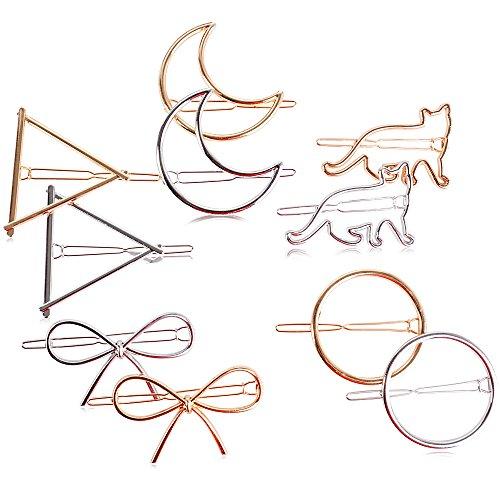 10 Stück Damen Haarspangen Haarclips Metall Haarklammer Haarschmuck Dreieck Kreis Halbmond Bowknot Katze Form Gold Silber für Damen Mädchen