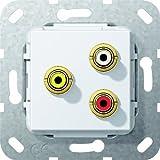 Gira 563803 Cinch Audio Composite Lötanschluss Einsatz, reinweiß