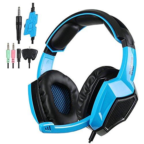 Sades Headset SA920 Gaming Headset mit Mikrofon Lautstärkeregler für PS4/PC/iPhone/Smartphone/Laptop/iPad/iPod/Handy (Blau)