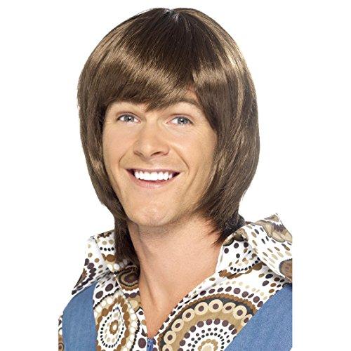 Amakando 70er Jahre Perücke Hippie Herrenperücke braun Flower Power Männerperücke Casanova Faschingsperücke Frauenschwarm Karnevalsperücke Mottoparty Kostüm Haare