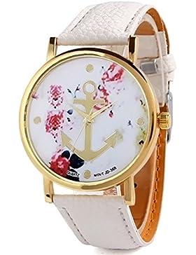 HITOP Vintage Retro Blume Damen Armbanduhr Basel-Stil Anker Blumen Leather Quarz uhr Lederarmband Uhr Top Watch...