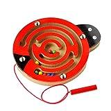 Isuper Mini Magnetspiel, Magnet Labyrinth für Kinder ab 2 Jahren Pädagogisches Motorikspiel Holzspielzeug, Marienkäfer